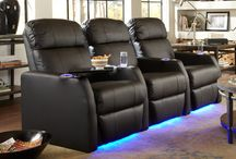 Lighted Cup Holders & Ambient Base Lighting / These seats in the 4seating inventory feature lighted cup holders and ambient base lighting, for a discreet azure illumination in a darkened room.  #hometheater #hometheaterseating #hometheaterseats