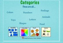 Activities/ideas for categories and sorting / Activities, worksheets, games, cards for teaching categorization, sorting and early concepts, and vocabulary for speech therapy and special education.