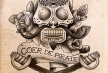 Nautical Candy Skull Tattoo