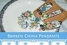 Jewelry: China & Ceramic / broken bits of china and ceramic made into jewelry.