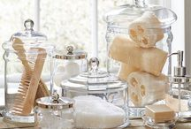 bathroom glass canisters