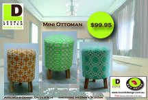 MINI OTTOMAN / Fabric Covered Mini Ottoman Stools - contemporary designs available in Orange, Green, & Blue