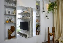 Tiny apartment, 45 sqm, Bucharest / Functional solutions in a small studio, from clothes storage space to rotating TV panel and decorative ways to add more color and freshness with indoor plants. Designer Adela Pârvu, arch Cristia Chira, The Park Apartments Bucharest, Foto Corneliu David