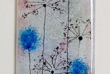 Fused glass wall art - panels - hangings - candle screens - coasters / Fused glass panels made from sheet art glass, glass frit (chips of glass) and stringers (fine glass strands). Kiln fused.