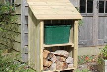 Little Okeford / The Little Okeford Log Store. A small ready-use log store, a baby version of the Okeford Log Store.