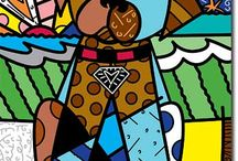 "Romero Britto, 1963 / Born in Recife, is a Brazilian neo-pop artist, painter, serigrapher and sculptor. He combines cubism, pop art and graffiti painting in his work. ""Britto´s style exsudes warmth, optimism and love"" - New York Times. In 1988 he moved to Miami  and has been commissioned by Absolut-Vodka, Apple, Pepsi-Cola, IBM, Disney, BMW... He uses vibrant colours, pop imagery, playful themes and an inventive use of his signature.  He support many philanthropic causes as well as his own Britto Foundation."