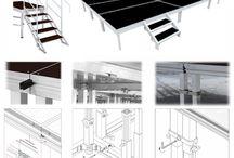 Tarimas para Escenarios / Tarimas portátiles para escenarios polivalentes, paneles con marco de aluminio. Paneles ignífugos, antideslizantes e hidrófugos.
