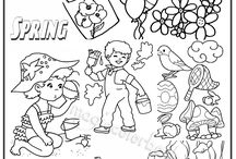 Spring Coloring pages free online / Free coloring pages online at: http://magiccolorbook.com/category/spring/