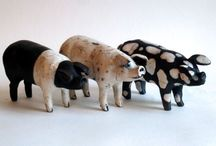 Pigs / A selection of hand made Raku pigs