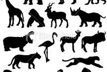 Afrikan eläimiä (sabluunat ja värityskuvat)