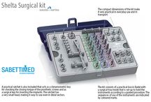 Shelta Surgical kit / The instruments, all made of stainless steel, have their descriptions screen-printed on the tray to allow the user to identify each instrument more easily and to put it back after the cleansing and cleaning phases, with the aid of a colour code system that traces the suitable surgical procedures for the various implant diameters.