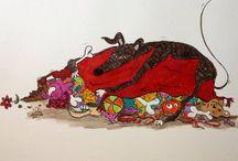 Greyhound & Friends art fun