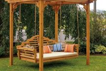 Swing chairs and benches  / DIY Swing chair and bench ideas for the garden