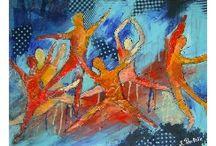 tableaux semi-abstrait / Melange de 2 genres , techniques mixtes