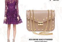 Jess Studded beige shoulder bag