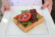 Waffles All Day Long / Savory waffle pairings and recipes for breakfast, lunch, dinner and snack.  Lovely with our Sweet Belgium Waffles and Brussels Style Belgium Waffles. - Alexander Dzieduszycki, Founder of Julian's Recipe