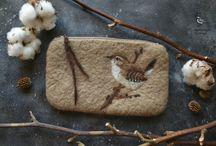 Felted birds / Разные птицы, в виде игрушек и рисунков, все из натуральной шерсти
