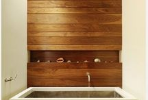 Natural timber feature walls