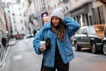blue faux fur coat by H&M