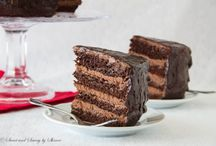 Chocolate cake with chocolate mousse