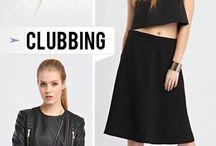 Trends - CLUBBING /  Linia wieczorowa, inspirowana nowoczesnym podejściem do spędzenia czasu w klubach w stylu lat 50 : lustrzane światło, skórzane fioletowe wnętrza, złote dodatki.