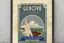 """Genova e i suoi Quartieri   VIMAGES STAMPE / Immagini dal sapore """"rétro"""", di un tempo andato, ideali elementi di arredo, perfette idee regalo e souvenir che celebrano l'Italia. #vimages #vimages.it #genova #zena #marcovimercati #vimercati #pixelstudio #giorgiosantinelli"""