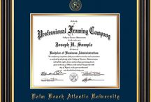 PBA - Palm Beach Atlantic University Diploma frames & Graduation Gifts / Official PBA Diploma frames. Exquisitely crafted to exacting specifications for the PBA diploma. Custom framed using hardwood mouldings and all archival materials, including UV glass to prevent fading from sunlight AND indoor incandescent lighting! Each frame exceeds Library of Congress standards for document preservation and includes a 100% lifetime guarantee, ensuring that a hard-earned achievement will be honored and protected for generations. Makes a thoughtful and unique graduation gift!