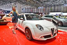 """MiTo Racer @ Geneva Motor Show 2015 /  Take a look at its features: elegant polished finishing for the 17"""" alloy wheels and wing-mirrors. This special series also features a satin-chrome finish for the door-handles and the front and rear light frames, a rear sport bumper, spoiler and chromed exhaust-pipe. #GIMS"""