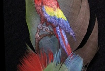 Feather art / Schilderijtjes op een veer geschildert