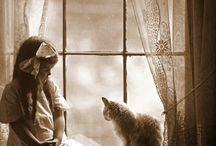 Vintage Cat & Dog Love