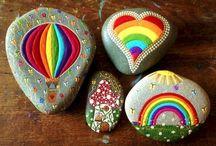 rainbow painted rocks