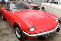 Triumph Spitfire / Released in 1962 and originally to be named the 'Bomb', the Triumph Spitfire's design was penned by Giovanni Michelotti and was based on the smaller Triumph Herald. Built to compete with the Austin-Healey Sprite the Triumph was a light weight, affordable sports car. British Leyland borrowed extremely heavily from the Herald, with a modified Herald chassis being used, Herald suspension setup and a slightly tuned 1147cc Herald engine used to power the Spitfire