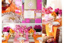 Orange and Fuchsia  / A bright and colourful mood board for wedding inspiration.
