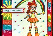 CUTE AS A BUTTON - Handmade cute girly greeting cards