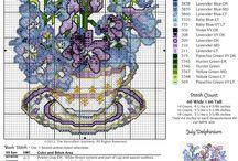 вышивка - цветы в чашках