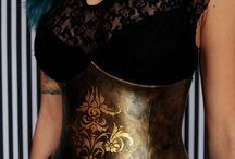damask steampunk corset