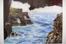 The coast of EL HIERRO / Sea paintings of the coast of El Hierro, Canary Islands, Spain made with pastel colours, watercolours and oil paintings.