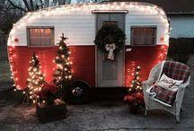 Vintage camper Christmas