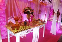 decoração princesa rosa e dourado