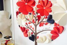 Papierblumen wand