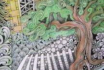 Landscapes doodles, zentangles