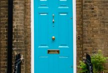 blue door and decking