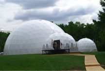Event domes / In architecture a pavilion (from French pavillon, from Latin papilio) has two primary meanings. It can refer to a free-standing structure sited a short distance from a main residence, or within a compound, typically whose architecture makes it an object of pleasure. Large or small, in the West there is usually a connection with relaxation and pleasure in its intended use.