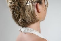Wedding styles for short hair / Different styles for brides and bridesmaids with short hair