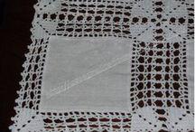 Colchas en tela unidas con croché