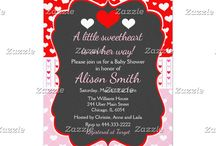 A Little Sweetheart Valentine's Red Baby Shower / This collection features a red and white heart on a chalkboard frame. The background consists of white hearts on red, white hearts on pink and a red and white heart ribbon.
