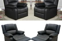 Luxury Leather Armchair Lounge Chairs Black Sofa Furniture Living Room Christmas