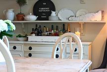Long shelf in kitchen