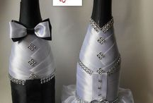decorated champagne bottles