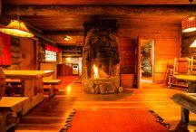 Log Chalets at Kakslauttanen Arctic Resort / Rustic log chalets in Kakslauttanen Arctic Resort, Lapland Finland.